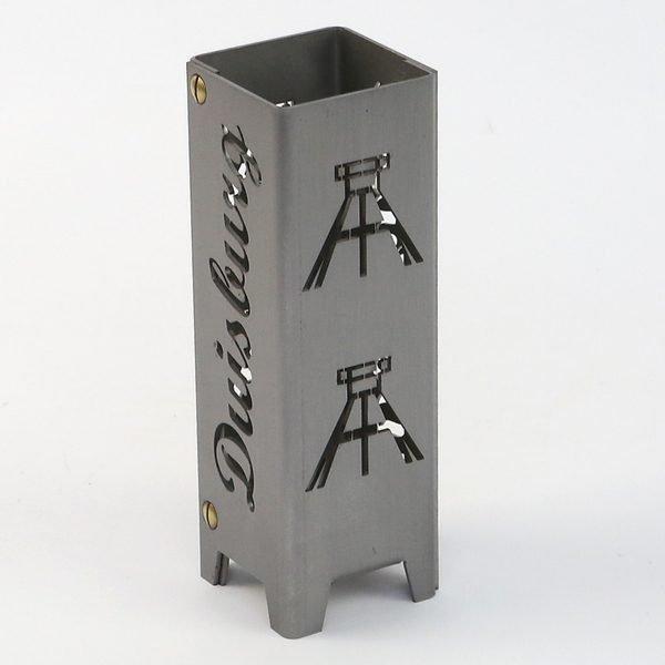 Viefhaus_Made_of_Steel:_Zeche_Teelicht_aus_Metall_Ruhrpott Licht aus Metall Zeche Duisburg Förderturm