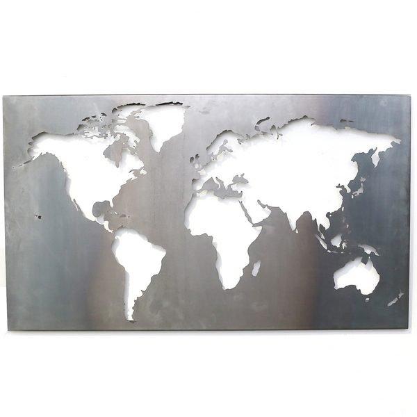 Weltkarte aus Stahl Eingangsgestaltung Schild