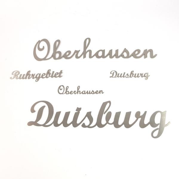 Ruhrgebiet Schriftzug aus Edelstahl klein