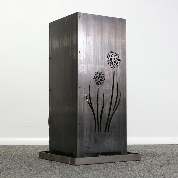 "Feuersäule aus Metall Motiv ""Pusteblume"" - Stahlblech"