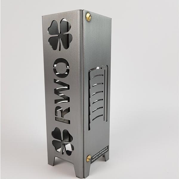 Ruhrpott Licht aus Metall RWO mit Kleeblatt + Gasometer 55 x 55 x 175 mm
