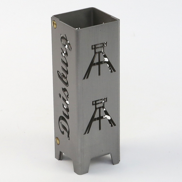Ruhrpott Licht aus Metall für Teelicht Duisburg + Förderturm auf 50 x 50 x 150 mm