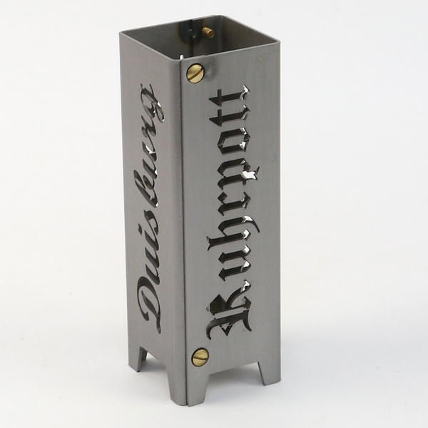 """Ruhrpott Licht aus Metall für Teelicht """"Duisburg + Ruhrpott"""" auf 50 x 50 x 150 mm"""