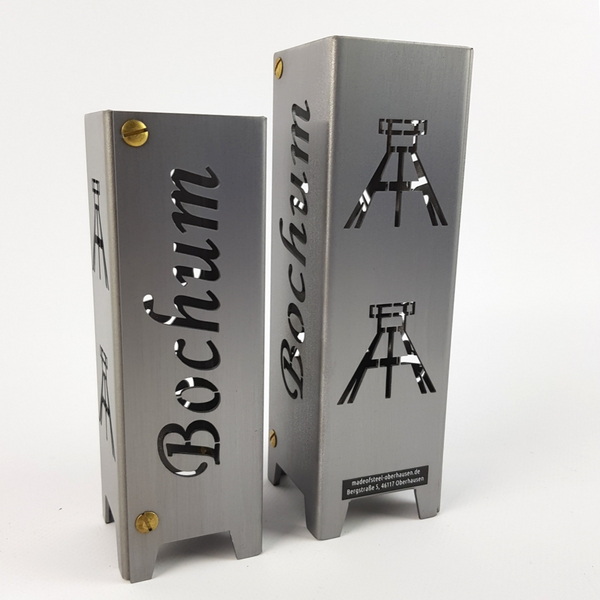Ruhrpott Licht aus Metall für Teelicht Bochum + Förderturm auf 50 x 50 x 150 mm