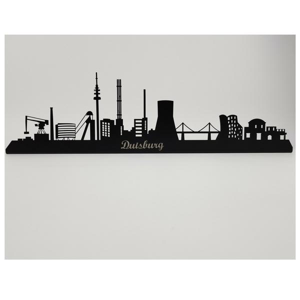 Duisburg Skyline aus Metall 560 x 100 x 21 mm mit Schriftzug