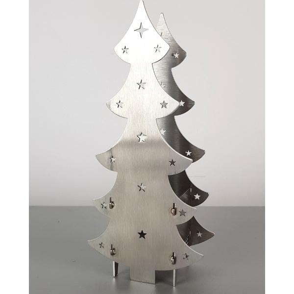Weihnachtsbaum aus Metall Edelstahl für Teelicht 193,8 x 89,5 mm