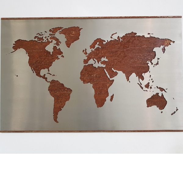 Weltkarte aus Edelstahl 600 x 1000 mm